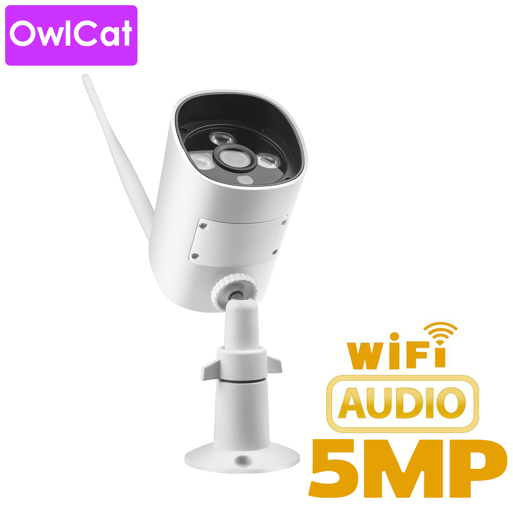 OwlCat Outdoor Bullet IP Camera WIFI SD Card Audio Microphone 2MP 5MP HD Wireless Wireless CCTV IR P2P Тэлефон