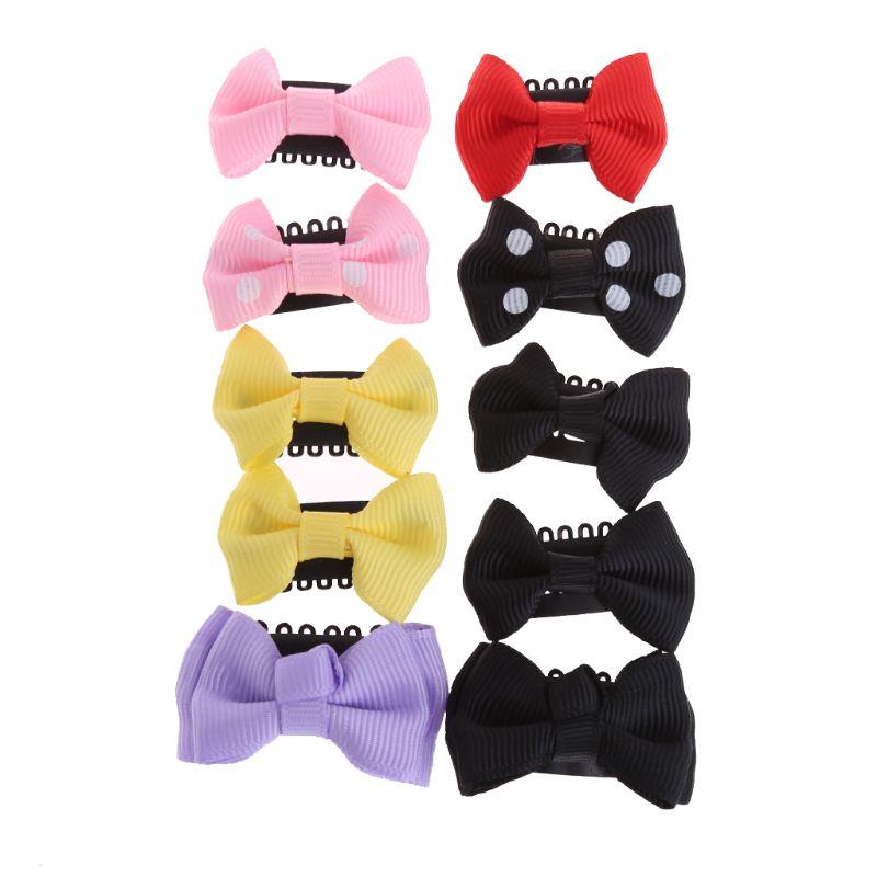 10 Pcs Baby Girl Ribbon Hair Bow Mini Latch Hair Clips Safe Boutique Barrettes Hair Tools