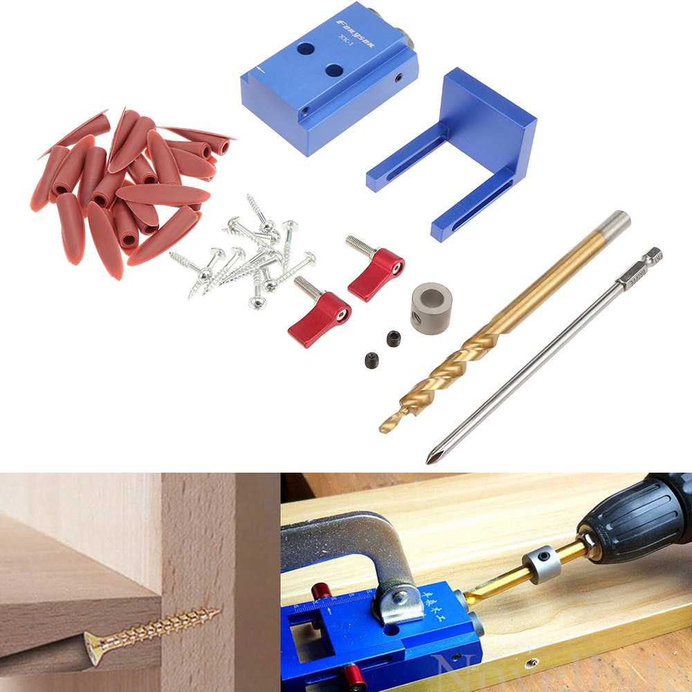 Mini Kreg Style Pocket Hole Jig Kit System Step Drill Bit for Wood Working & Joinery Hand Power Tool Accessories Set with Box