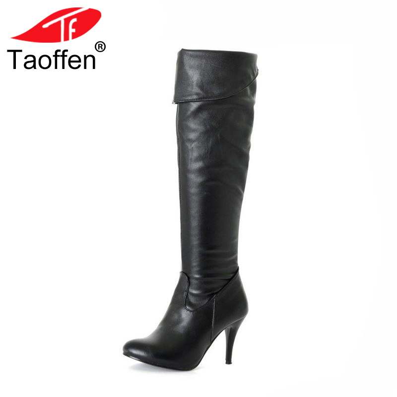 TAOFFEN Size 34-47 Women High Heel Over Knee Boots Fashion Snow Long Boot Warm Winter Brand Botas Footwear Heels Shoes P1318-2 size 31 45 women real genuine leather high heel over knee boots winter warm long boot riding quality sexy footwear shoes r8297