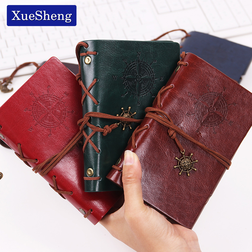 1PC Spiral NoteBook Diary Book Vintage Pirate Anchors PU Leather Note Book Replaceable Xmas Gift Traveler Journal in Notebooks from Office School Supplies