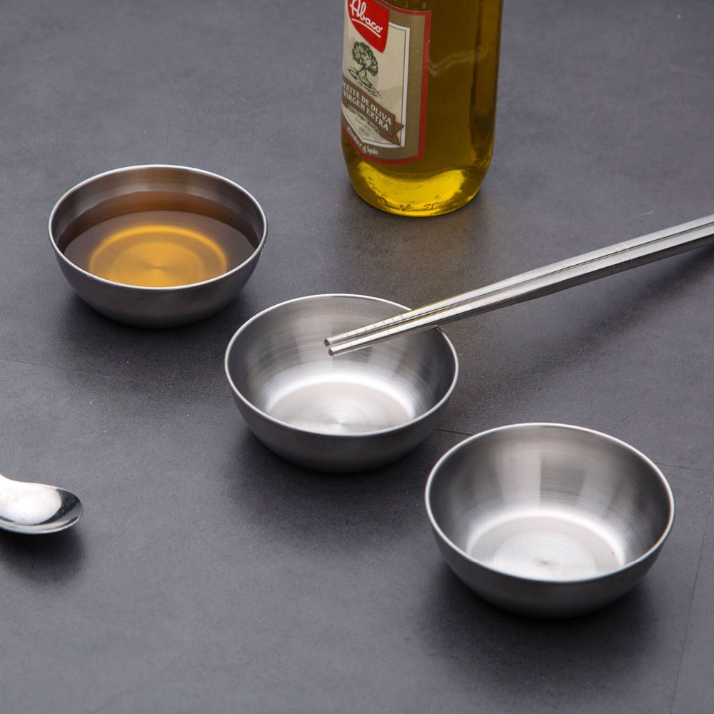 10/5pcs Stainless Steel Small Sauce Dish Kitchen Sushi Vinegar Soy Sauce Plate Home Tableware Food Seasoning Tray