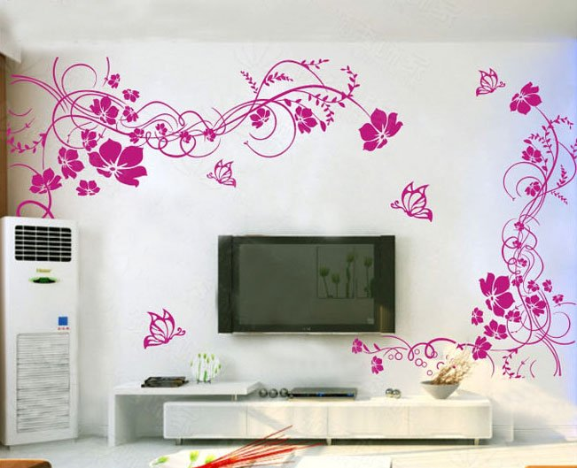 10cm * 8cm Wall Stickers For TV, Living Room, Bedroom, Sofa, Countryside  Backgroud, Blossoming Flowers Part 71