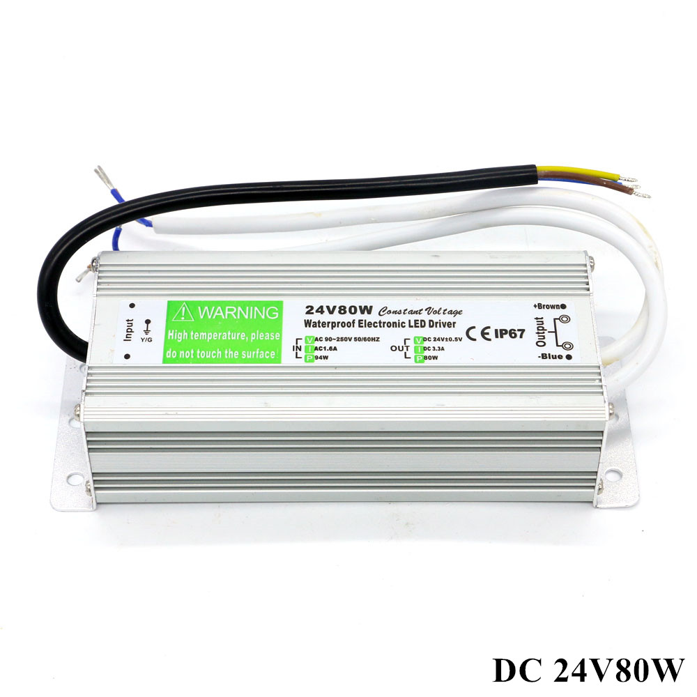 DC 24V LED Driver Waterproof IP67 DC 24V 80W 3.3A Switching Power supply Transformer 24v 8 5a power supply waterproof ip67 adapter ac 96v 240v transformer dc 24v 200w ac dc led driver switching power supply ce fcc