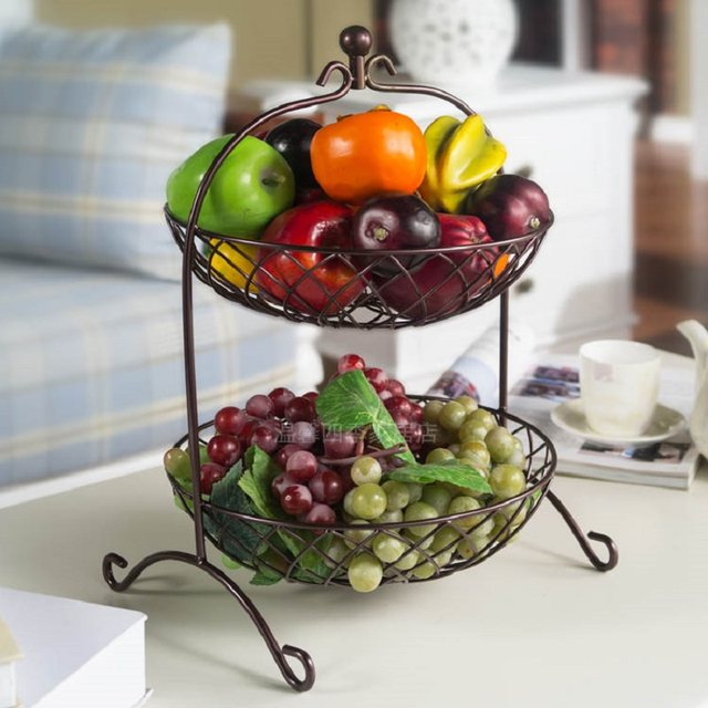Fruit Basket Bandeja Kitchen Storage Rack Fruit Pots Dish Metal Two Story Fruit  Basket Storage Living Room Flower Basket Rack