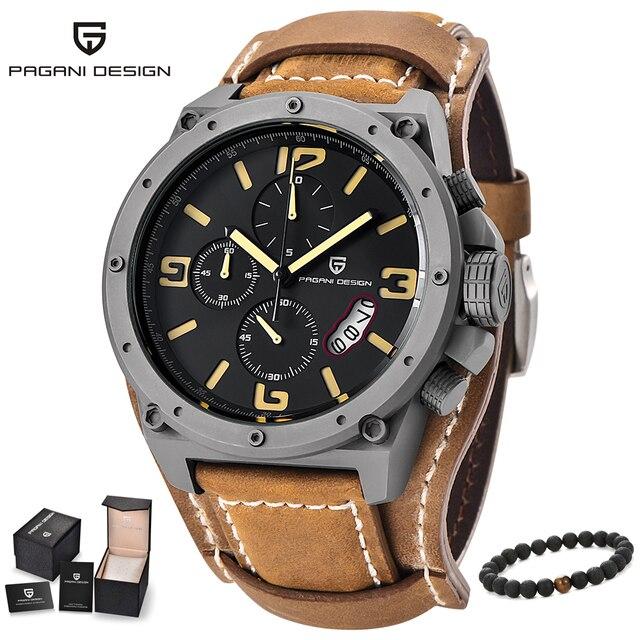 f181dc79dbb PAGANI DESIGN de Moda esporte relógios mens pulseira de couro preto grandes  mostradores de relógio de
