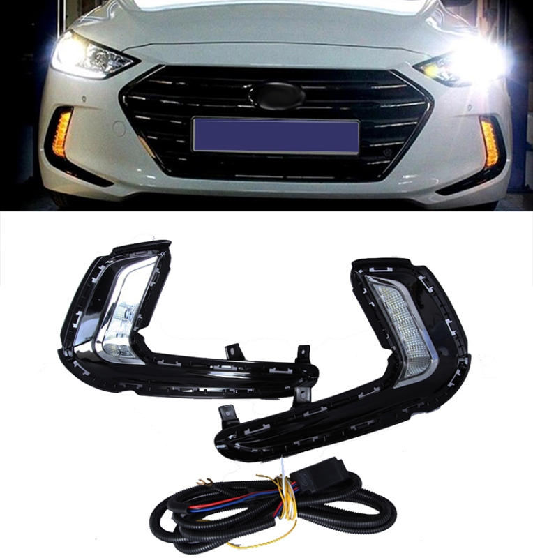 LED 2Way Daytime Running Light DRL with yellow signal fog lamp For Hyundai Avante AD Elantra 2016-2017 Car styling 12v car led drl daytime running light fog lamp cover with turn signal light for hyundai elantra 2016 2017