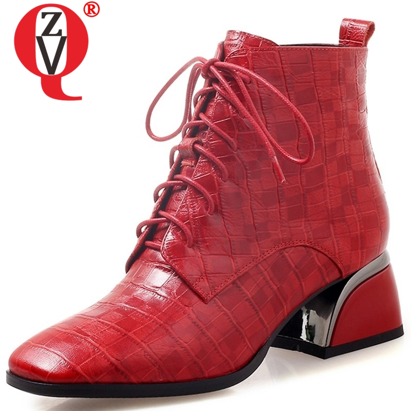 ZVQ 2019 ankle boots winter new concise casual zipper women mid square heel genuine leather warm