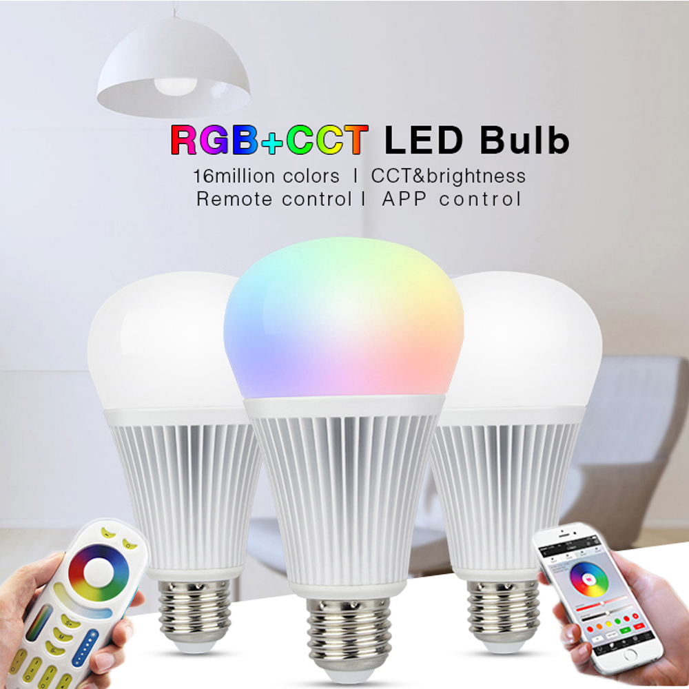 Mi Light E27 9W 12W E14 5W Dimmable LED Bulb Light RGB + Warm White + White (RGB+CCT) AC85-265V Remote Wifi Smart RGBW LED Lamp ziyu zy 655 e27 5w 500lm 3000k cob led warm white light lamp bulb silver white 85 265v