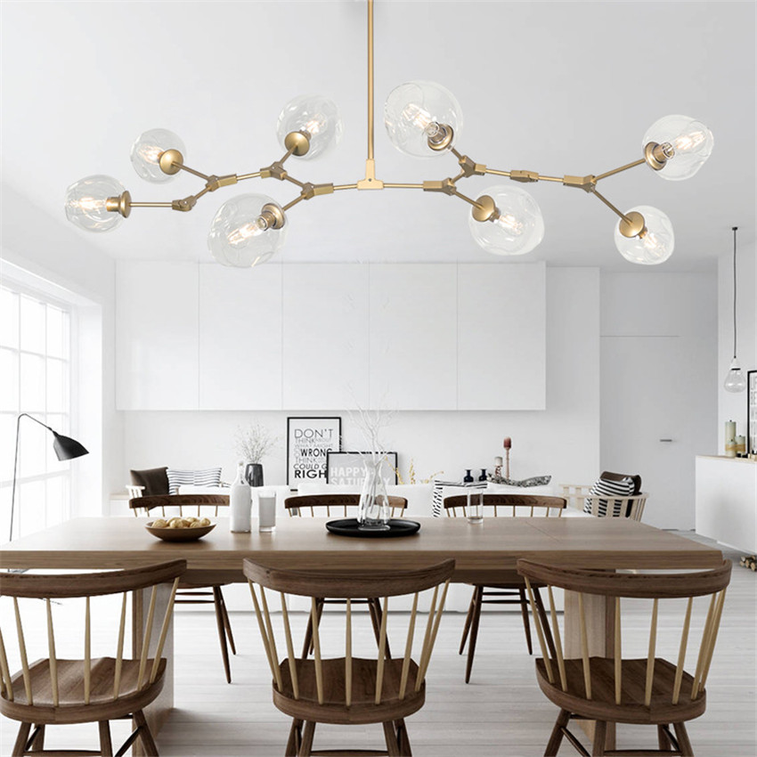 Modern Murano Glass Led Chandelier Lighting for Dining Room,Nordic Art Dendritic Gold Chandelier Lights with Lustres Glass Shade