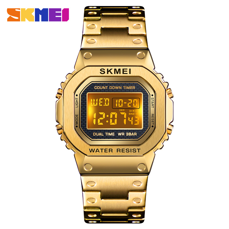 2020 <font><b>SKMEI</b></font> Relogio Masculino <font><b>1456</b></font> Men Electronic Digital Watch Chronograph Clock Dual Time Display Sport Watch Male Wristwatch image