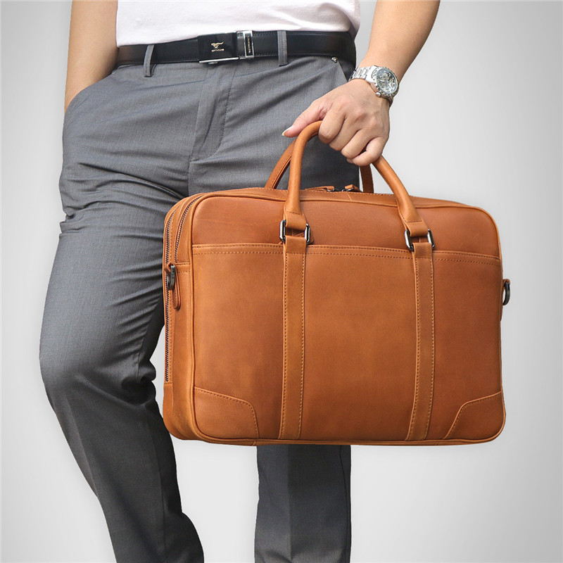 Nesitu Large Big Brown Genuine Leather Men Messenger Bags Briefcase 14'' Laptop Male Portfolio Business Travel Bag M7348
