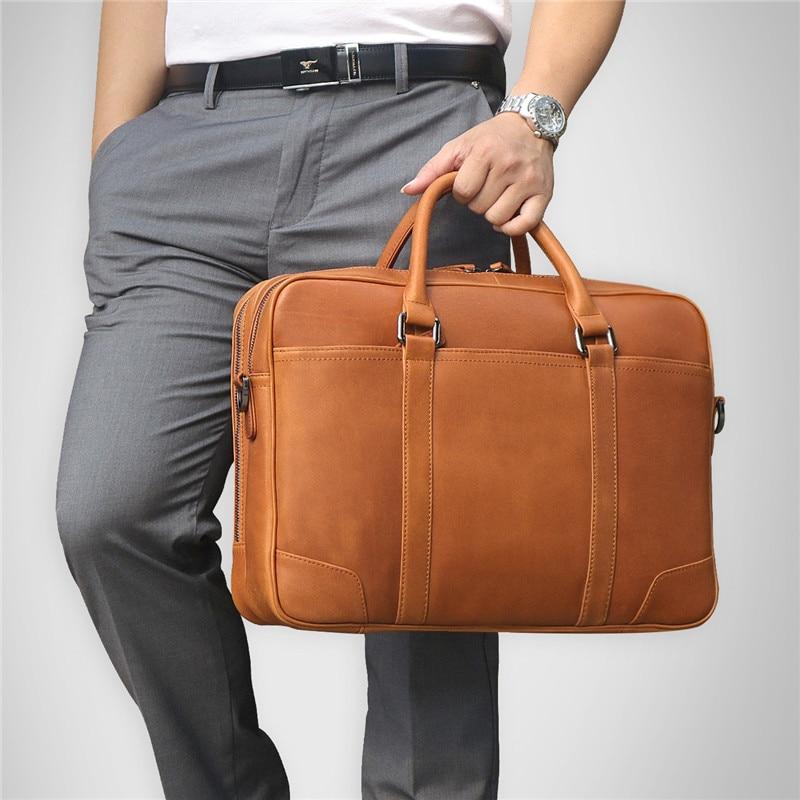 Nesitu Large Big Brown Genuine Leather Men Messenger Bags Briefcase 14'' Laptop Male Portfolio Business Travel Bag M7348