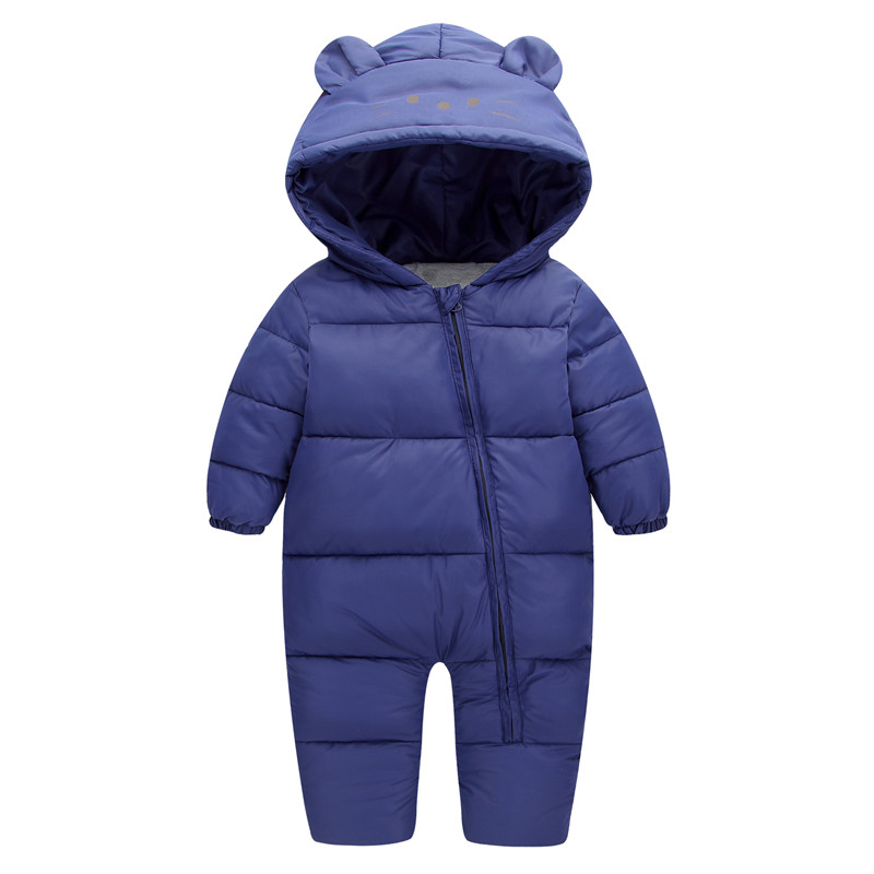 9d5ce4fa426 29KEIZ 1 3 Year Infant Winter Romper Down Cotton Solid Color Bear Pattern  Full Sleeve Hooded Boys Girls Baby Outerwear   Coats-in Down   Parkas from  Mother ...