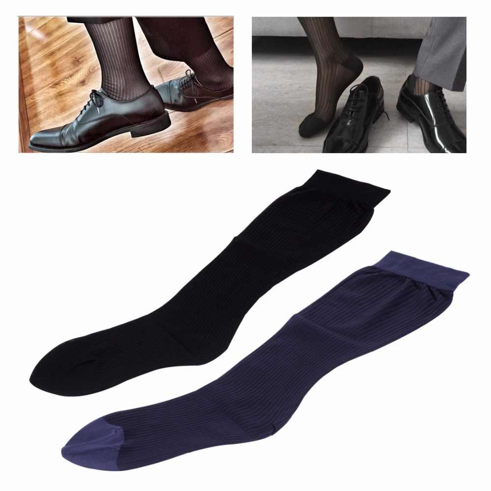 24f5f8c712b New 1Pair Nylon Silk Men Stockings Stretch Sock Transparent Man Compression Socks  Striped Design Business Formal