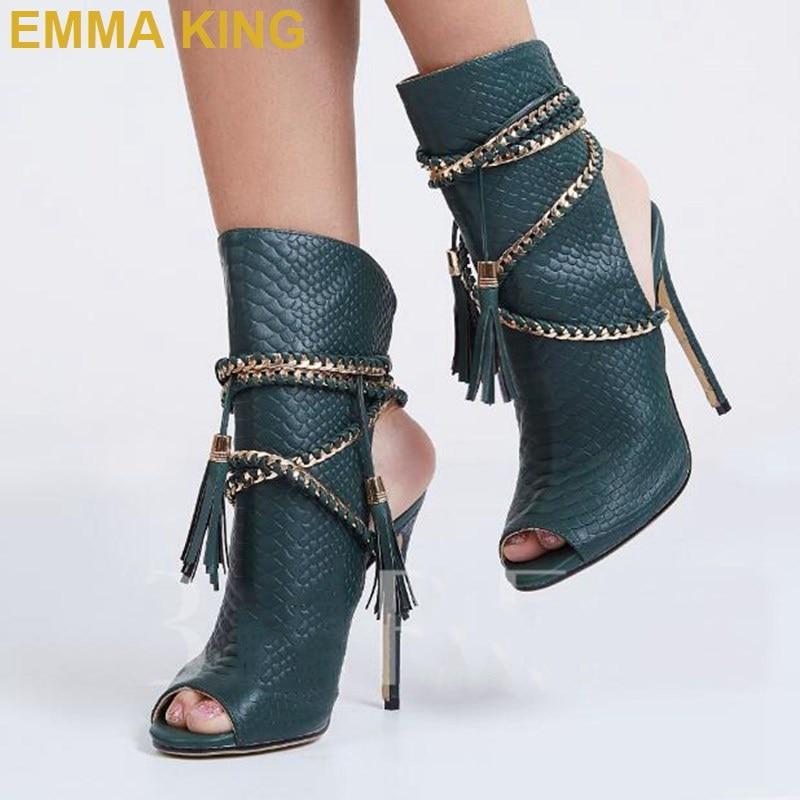 Sexy Snakeskin Summer Sandals Ankle Boots Tassel Chain Women High Heels Shoes Trendy Designer Ladies Rope Sandals Big Size 11 - 4