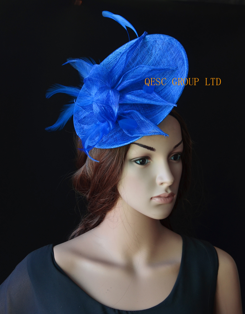 245b61edf3297 NEW Royal blue Big sinamay fascinator wedding hat with sinamay  loops feathers handmade flowers for Royal Races Kentucky derby.