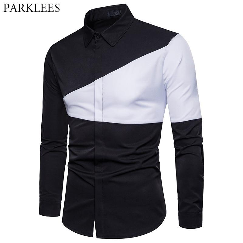 Mens Hipster Casual Button Down Dress Shirts 2018 Autumn New Slim Fit Long Sleeve Shirt Men Black Shirt For Business Man Camisas