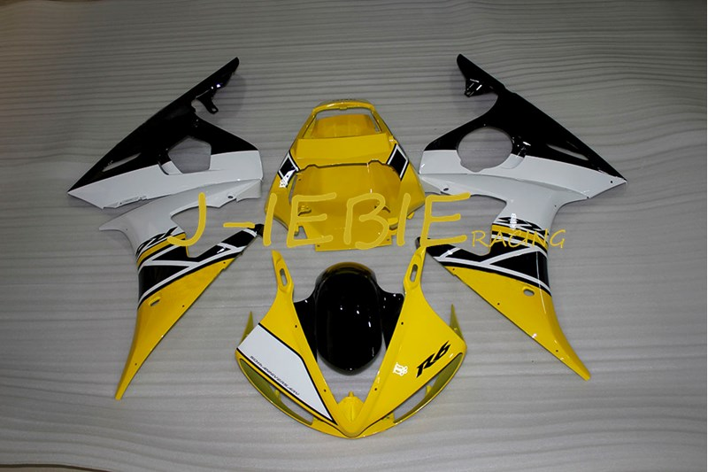 Yellow black white Injection Fairing Body Work Frame Kit for Yamaha YZF R6 2005