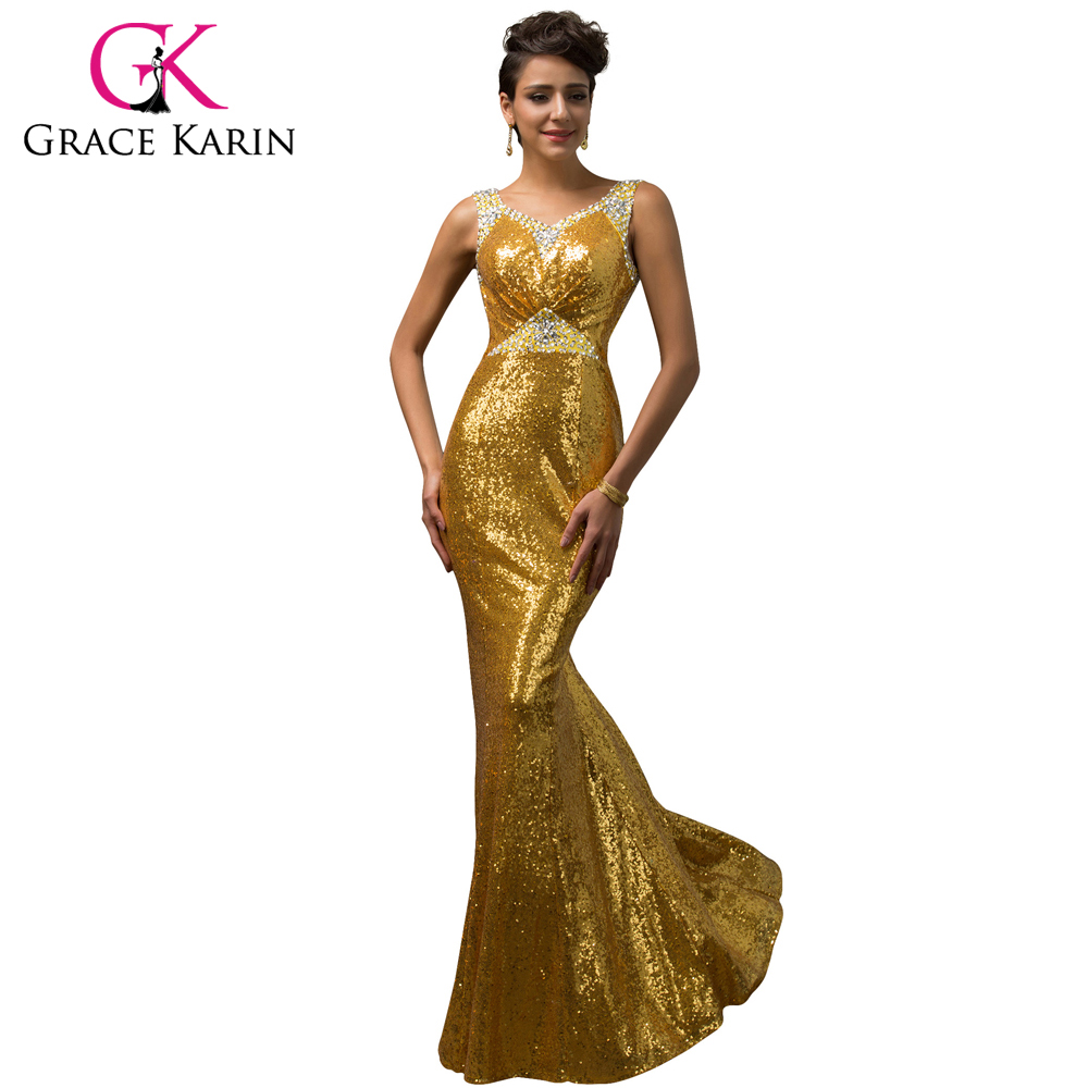 Prom dress new arrival 2016 mermaid pageant dress emerald green - Grace Karin Mermaid Evening Dress Emerald Green Pink Golden Sequined Stunning Formal Long Party Gowns Luxury