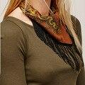60x60 CM Mujeres Bufandas Del Collar 2017 de la Cadena de Oro Borla de La Primavera de la Marca de Lujo Mujer Cachecol Bufanda ST