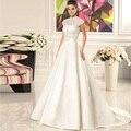 Elegant Fashion Lace With Buttons Wedding Dress 2017 Court Train Satin Bridal Gowns vestidos de noiva robe de mariee