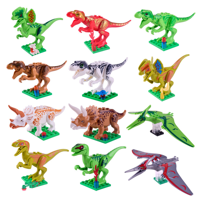 mobokono 12pcslot legoing dinosaurs of jurassic park world movie kid baby toy building blocks