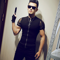 2017 See Through Shirts Mens Transparent Sleeves Shirts Black Slim Fit Club Outfits Sexy Tight Zipper Stand Collar Shirts Mens
