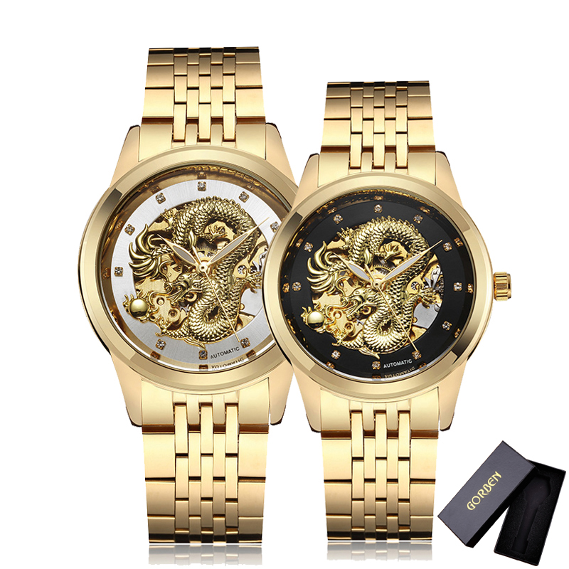 Luxury Dragon Hollow Men's Gold Mechanical Watch Mens Business Watch Automatic Skeleton Stainless Steel Band Wrist Watches Clock genuine leather band watches men automatic watch skeleton mechanical watch hollow out back dragon dial dragon watch luxury brand