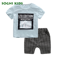 SOGNI KIDS 2017 Summer Boy Clothes Kids Short Sleeve t shirt shorts two pieces set casual