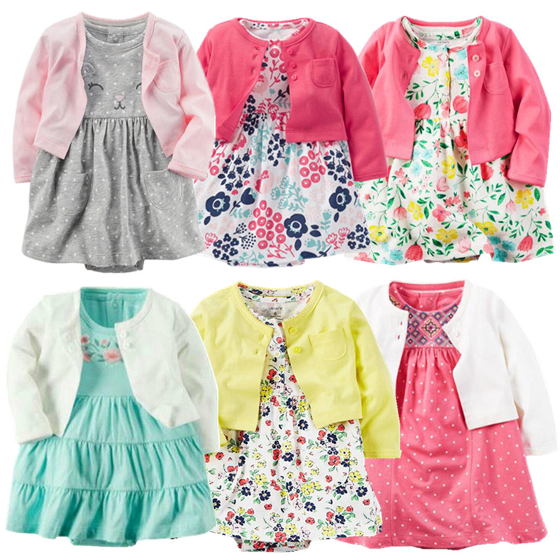 2017 spring baby girl clothes bodysuit +jackets baby clothes Roupa infant jumpsuits cotton baby clothing for 0-24M dresses