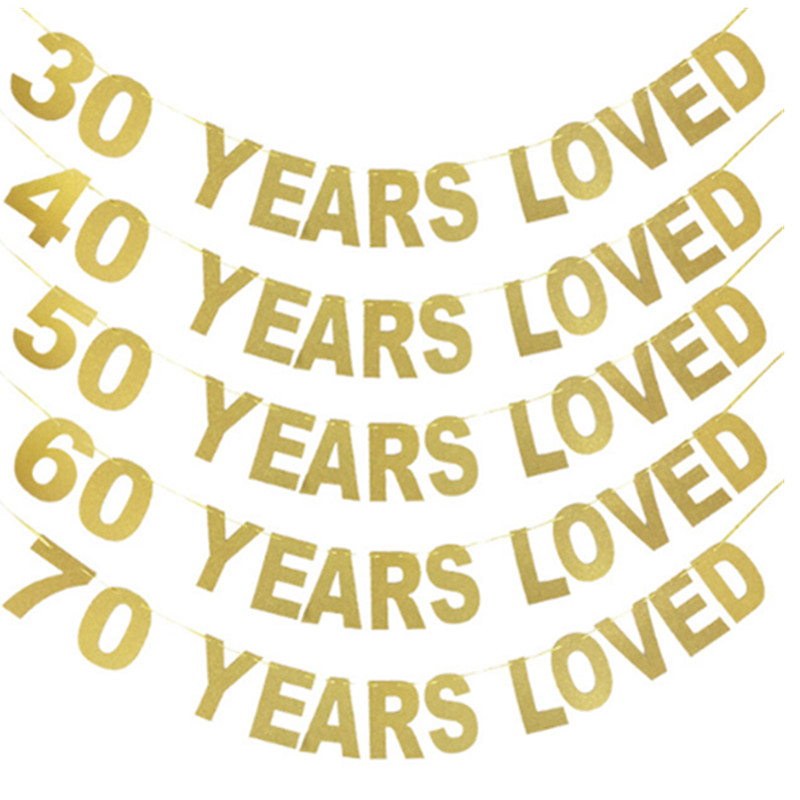 <font><b>Happy</b></font> <font><b>Birthday</b></font> Party 30/40/50/<font><b>60</b></font>/70/80/90 Years Loved Glitter Gold Banner <font><b>Birthday</b></font> Wedding Party Deco Anniversaire Supplies image