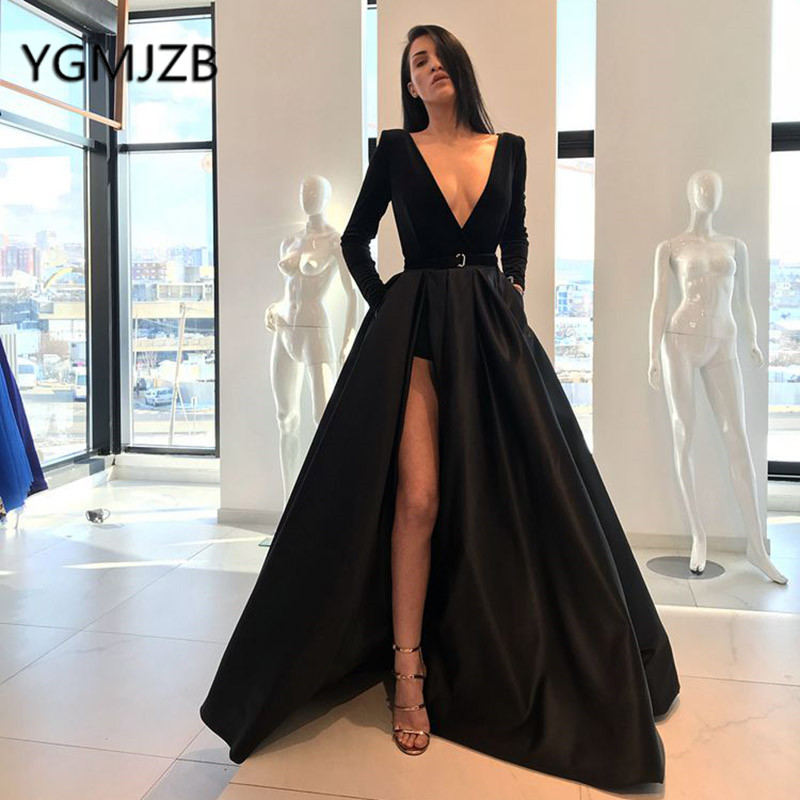 Sexy Black   Prom     Dresses   Long 2019 A-line Deep V-neck Long Sleeves High Side Split Evening   Dress   Women Formal   Dress   Party Gown