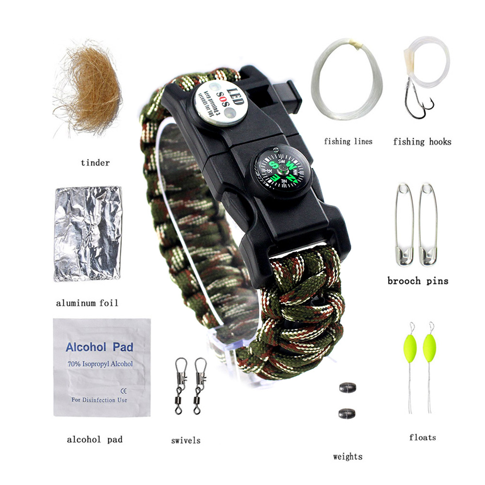 Outdoor Survival Bracelet Multifunctional Camping Paracord Emergency First Aid SOS LED Light Fishing Kit Compass Whistle Knife