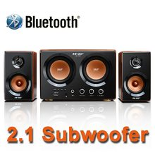 2016 New Hi-Fi Two 3.5 Inch Subwoofer Audio System Bluetooth Wooden Subwoofer Support TF Card And USB Audio Playback