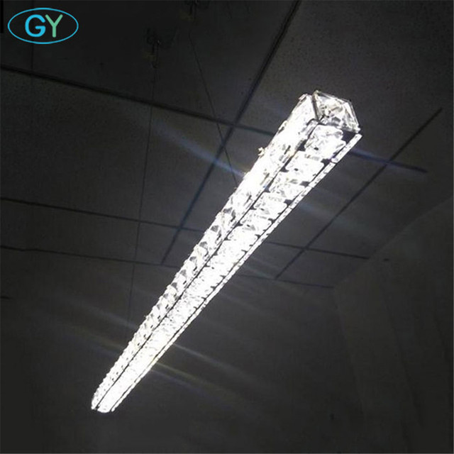 AC100-240V L70cm 15W LED crystal pendant light long decorative dining restaurant office lustres de sala moderno colgante