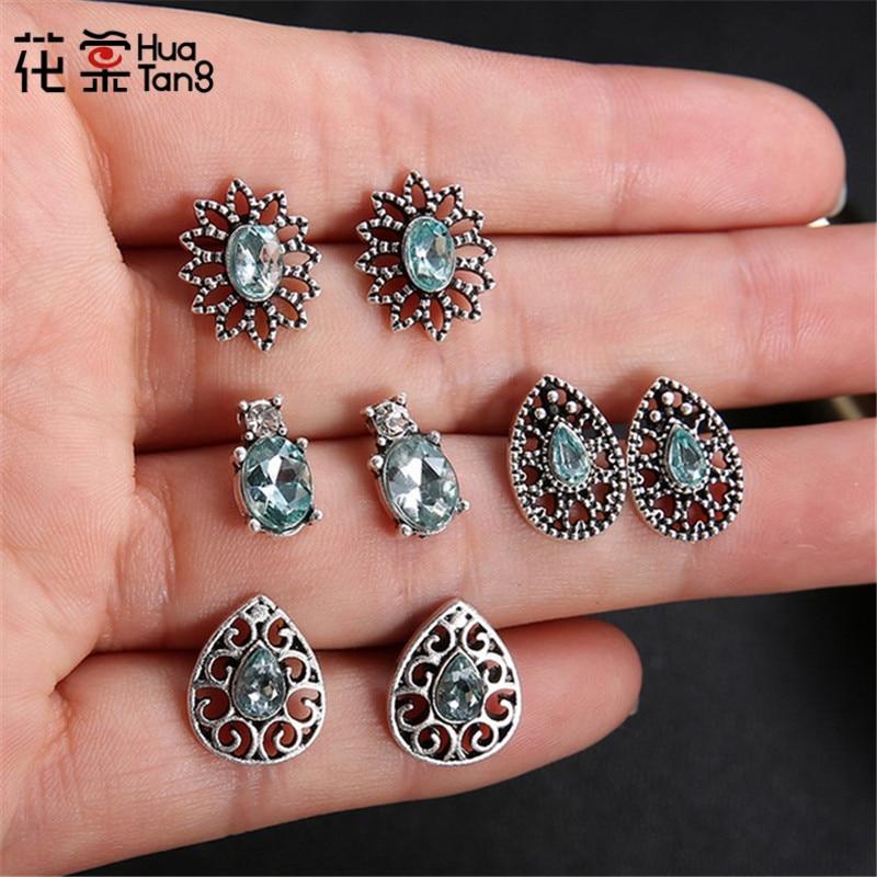HuaTang 8pcs/set Bohemian Crystal Geometric Stud Earring Set Women Girl Hollow Out Flower Rhinestone Earring Sets Jewelry 6123