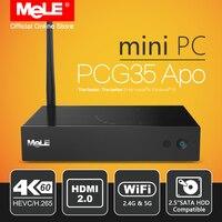 Без вентилятора Оконные рамы 10 Мини-ПК Desktop Mele pcg35 APO 4 ГБ 32 ГБ Intel Apollo Lake Celeron j3455 4 К HDMI VGA Wi-Fi Тип USB c HDD SSD