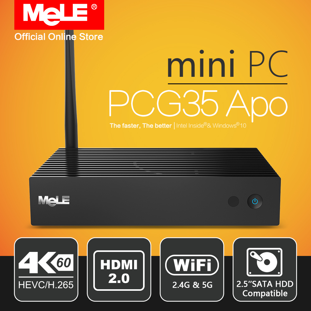 Fanless Windows 10 Mini PC Desktop MeLE PCG35 Apo 4GB 32GB Intel Apollo Lake Celeron J3455 4K HDMI VGA WiFi USB Type C HDD SSD vorke v1 plus intel apollo lake j3455 4k 60hz 4g ram 64gb ssd windows mini pc 802 11ac wifi gigabit lan bluetooth4 2 hdmi & vga