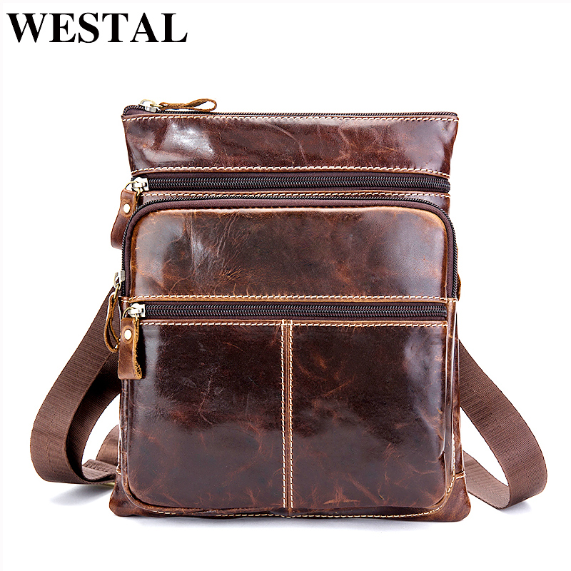 WESTAL Genuine Leather Bag Small Male Bag Phone Pouch Flap Vintage Crossbody Bags for Men Messenger Men Leather Shoulder Bags