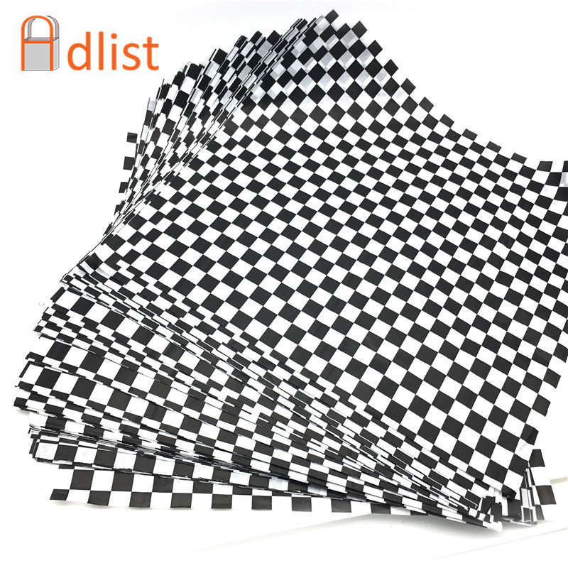 500pcs Black checkered Baking Oil Grease Paper Bread Sandwich Burger Fries Wrapping Papers Printed Food Grade Wax Baking Paper