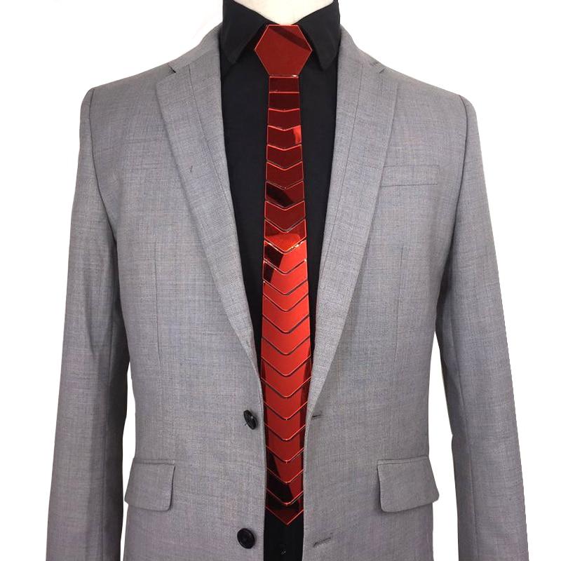 Handmade Acrylic Mirror Bling Red Neckties Men Fashion Skinny Silk Hex Ties Satin Ruby Gemstone Ties Women Jewelry