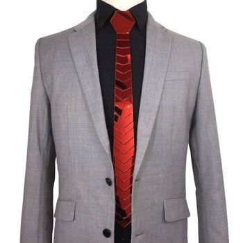 Handmade Acrylic Mirror Bling Red Neckties Men Fashion Skinny Silk Neck Ties Satin Ruby Gemstone Ties Women Jewelry