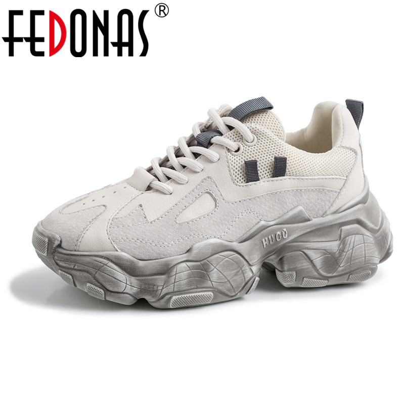 FEDONAS Casual Fashion Women Sneakers Genuine Laeather Lace Up Flats Spring Summer Casual Sport Shopping Comfortable