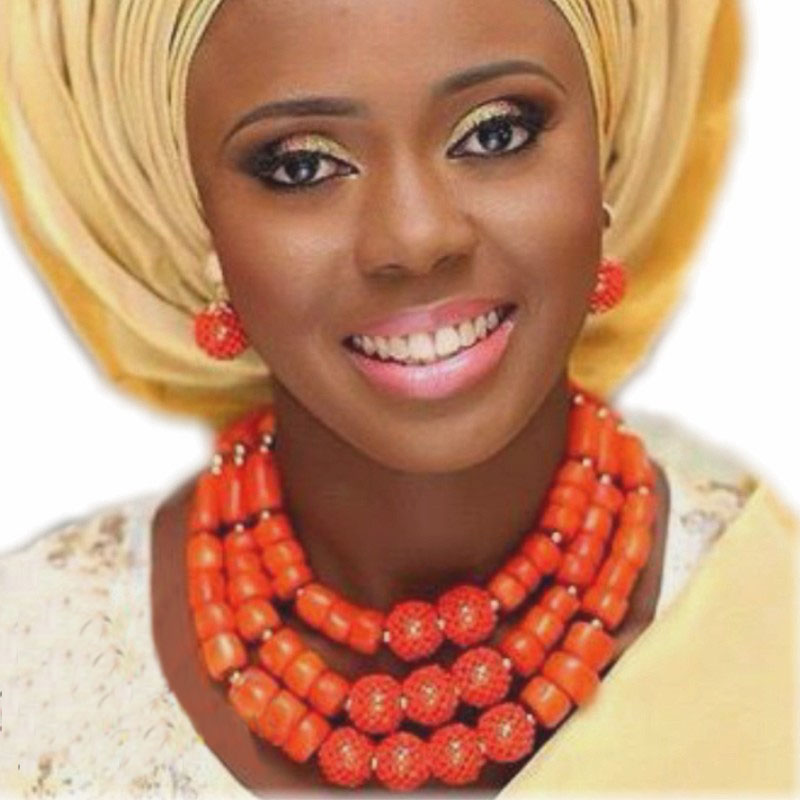Dudo Jewelry Traditional African Beads Jewelry Set 3 Rows 100% Coral Beads Jewelry Sets For Women With Handmade Balls 3 Pcs 2019Dudo Jewelry Traditional African Beads Jewelry Set 3 Rows 100% Coral Beads Jewelry Sets For Women With Handmade Balls 3 Pcs 2019