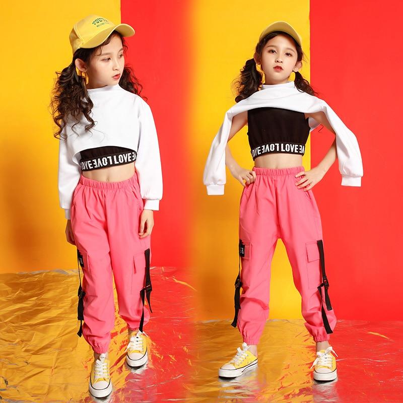 Children Cropped Sweatshirt Shirt Casual Pants Hip Hop Clothing Concert Jazz Dance Costume For Girls Ballroom Dancing Streetwear