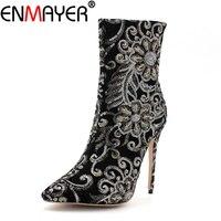 ENMAYER Winter Women Boots Mid Calf Super Thin High Heels Luxury Gold Shoes Women Stilleto Gold