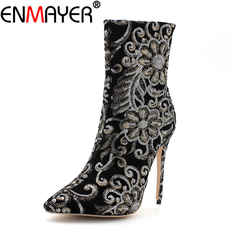 ENMAYER Winter Women Boots Mid-Calf Super Thin High Heels Luxury Gold Shoes Women Stiletto Gold Zippers Pointed Toe Plus Size43 zippers double buckle platform mid calf boots
