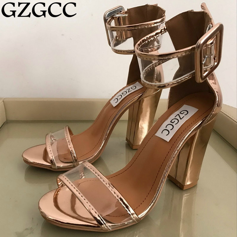GZGCC Summer New Fashion Women PVC Thick Heel Lace up Gladiator Sandals Patchwork Transparent High Heel