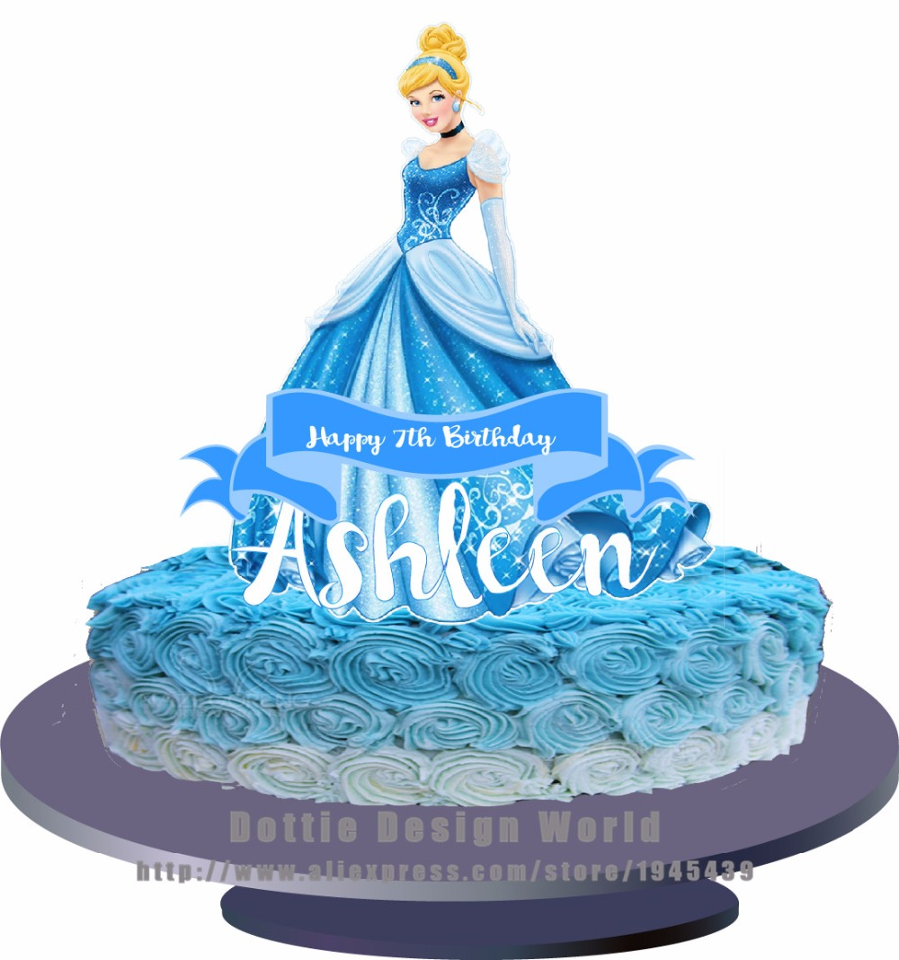 Enjoyable Prinses Cinderella Eetbare Cake Topper Wafer Rijst Papier Taart Funny Birthday Cards Online Overcheapnameinfo